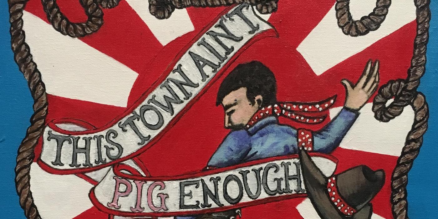 cowboy riding a pig