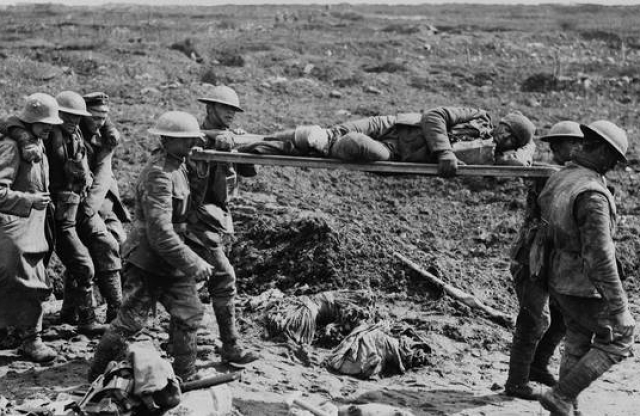 Stretchers on the fields during WWI